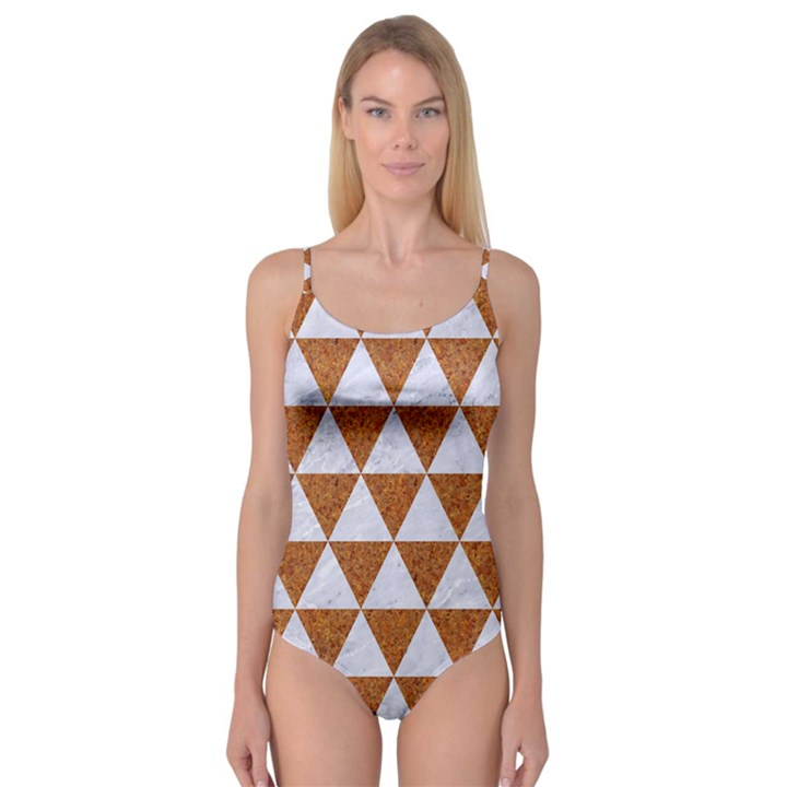 TRIANGLE3 WHITE MARBLE & RUSTED METAL Camisole Leotard