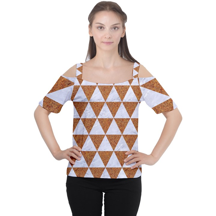 TRIANGLE3 WHITE MARBLE & RUSTED METAL Cutout Shoulder Tee