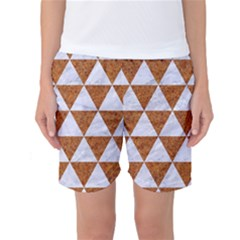 Triangle3 White Marble & Rusted Metal Women s Basketball Shorts