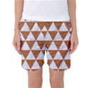 TRIANGLE3 WHITE MARBLE & RUSTED METAL Women s Basketball Shorts View1