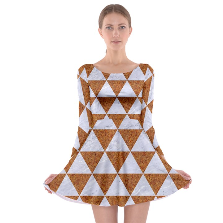 TRIANGLE3 WHITE MARBLE & RUSTED METAL Long Sleeve Skater Dress