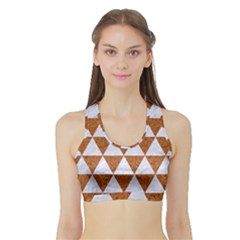 Triangle3 White Marble & Rusted Metal Sports Bra With Border