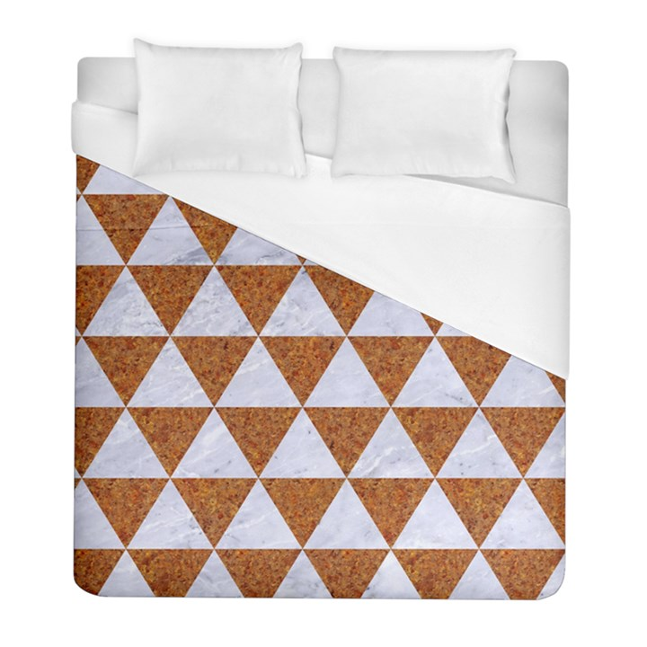 TRIANGLE3 WHITE MARBLE & RUSTED METAL Duvet Cover (Full/ Double Size)