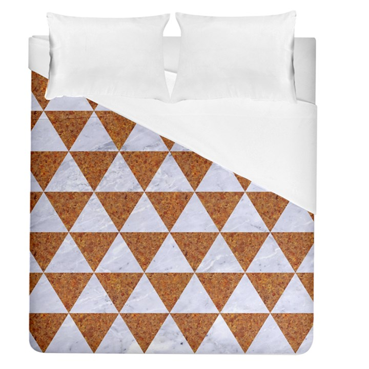 TRIANGLE3 WHITE MARBLE & RUSTED METAL Duvet Cover (Queen Size)