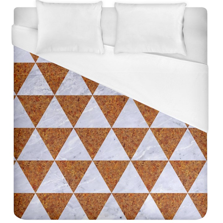 TRIANGLE3 WHITE MARBLE & RUSTED METAL Duvet Cover (King Size)