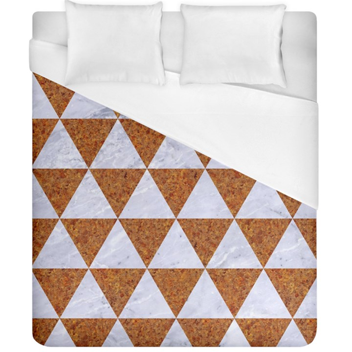 TRIANGLE3 WHITE MARBLE & RUSTED METAL Duvet Cover (California King Size)
