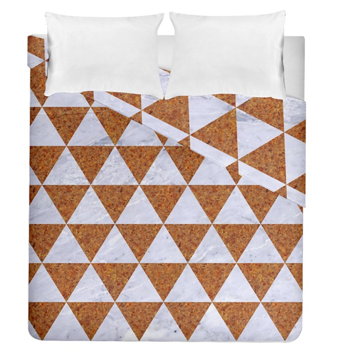TRIANGLE3 WHITE MARBLE & RUSTED METAL Duvet Cover Double Side (Queen Size)