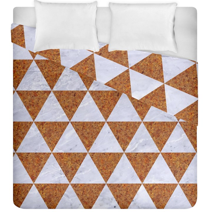TRIANGLE3 WHITE MARBLE & RUSTED METAL Duvet Cover Double Side (King Size)