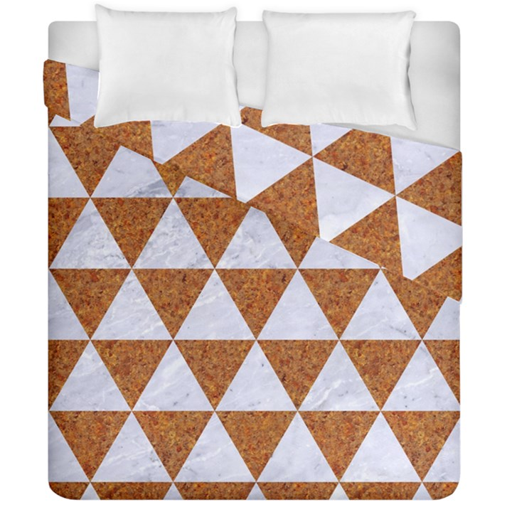 TRIANGLE3 WHITE MARBLE & RUSTED METAL Duvet Cover Double Side (California King Size)