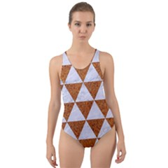 Triangle3 White Marble & Rusted Metal Cut Out Back One Piece Swimsuit