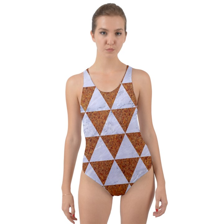 TRIANGLE3 WHITE MARBLE & RUSTED METAL Cut-Out Back One Piece Swimsuit