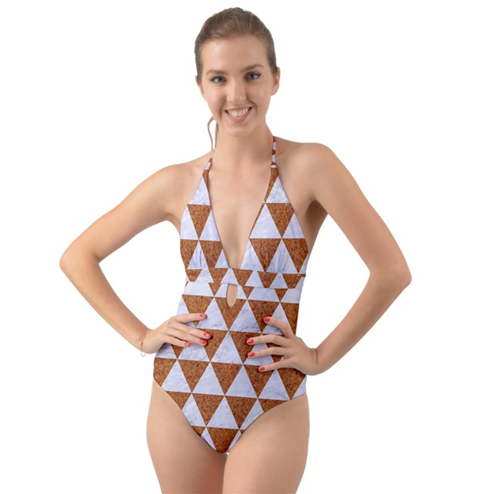 TRIANGLE3 WHITE MARBLE & RUSTED METAL Halter Cut-Out One Piece Swimsuit