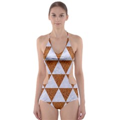 Triangle3 White Marble & Rusted Metal Cut Out One Piece Swimsuit