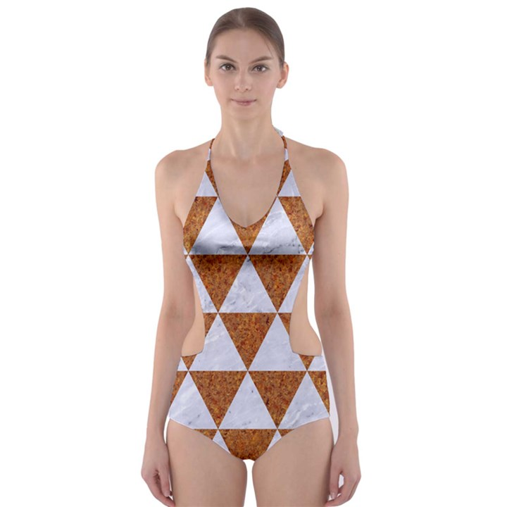 TRIANGLE3 WHITE MARBLE & RUSTED METAL Cut-Out One Piece Swimsuit