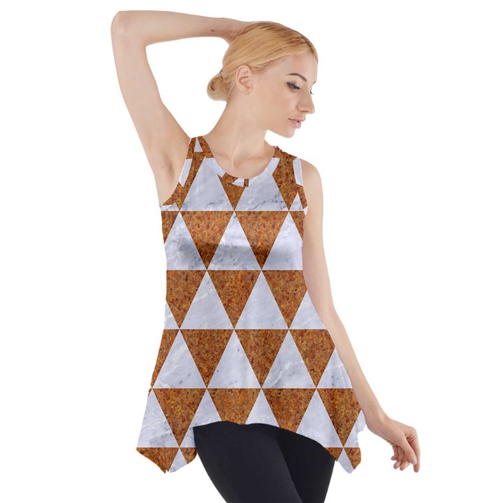 TRIANGLE3 WHITE MARBLE & RUSTED METAL Side Drop Tank Tunic
