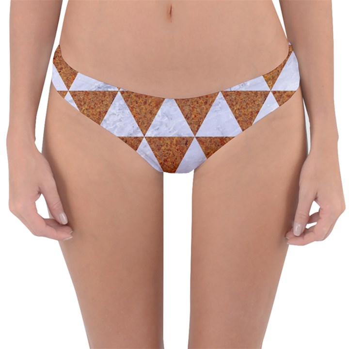 TRIANGLE3 WHITE MARBLE & RUSTED METAL Reversible Hipster Bikini Bottoms