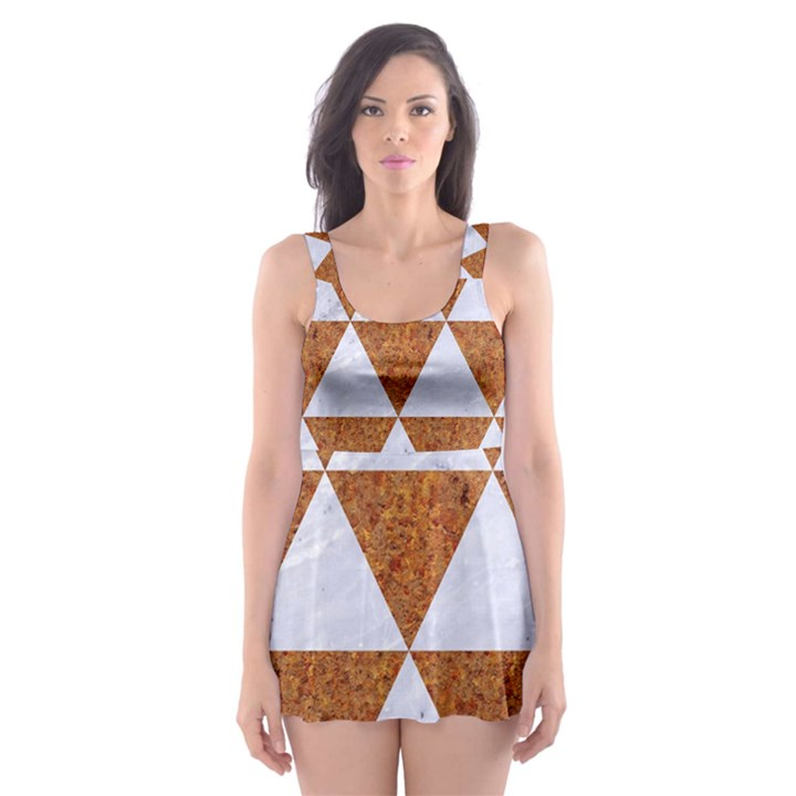TRIANGLE3 WHITE MARBLE & RUSTED METAL Skater Dress Swimsuit