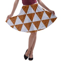 Triangle3 White Marble & Rusted Metal A Line Skater Skirt