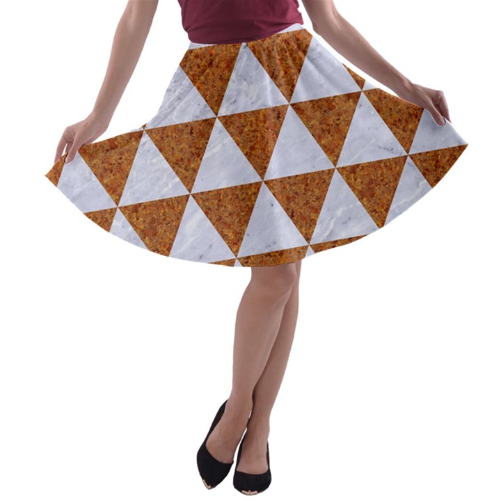 TRIANGLE3 WHITE MARBLE & RUSTED METAL A-line Skater Skirt
