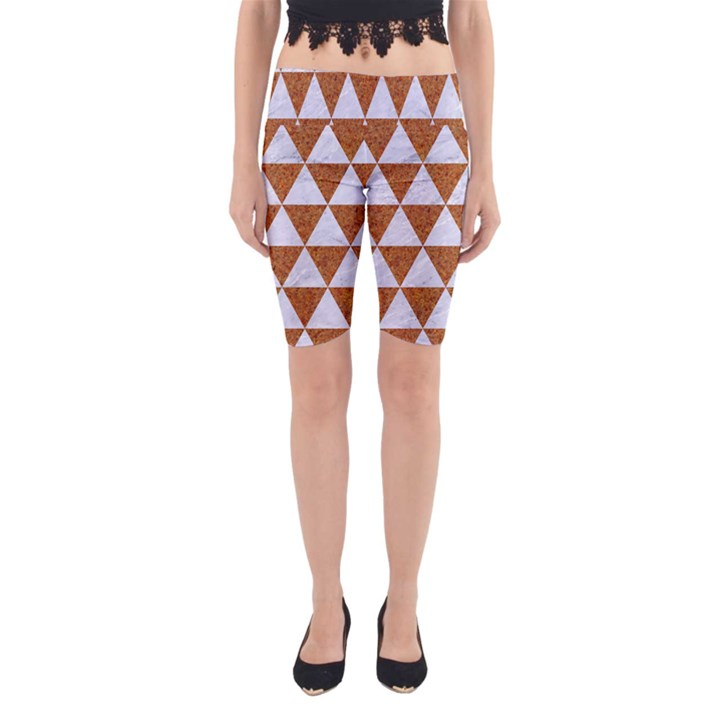 TRIANGLE3 WHITE MARBLE & RUSTED METAL Yoga Cropped Leggings