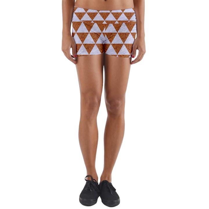 TRIANGLE3 WHITE MARBLE & RUSTED METAL Yoga Shorts