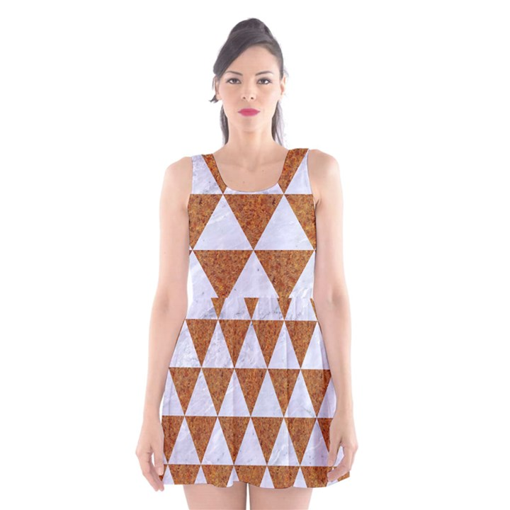 TRIANGLE3 WHITE MARBLE & RUSTED METAL Scoop Neck Skater Dress