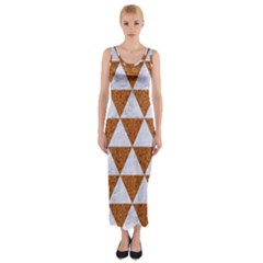 Triangle3 White Marble & Rusted Metal Fitted Maxi Dress