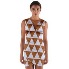 Triangle3 White Marble & Rusted Metal Wrap Front Bodycon Dress