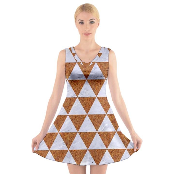 TRIANGLE3 WHITE MARBLE & RUSTED METAL V-Neck Sleeveless Skater Dress