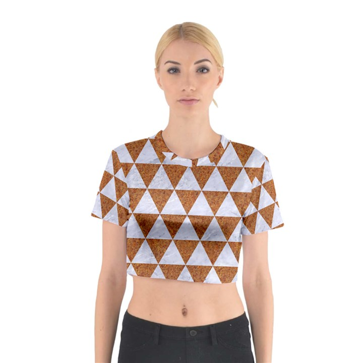 TRIANGLE3 WHITE MARBLE & RUSTED METAL Cotton Crop Top