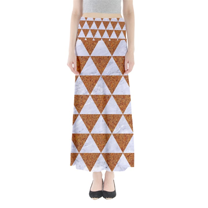 TRIANGLE3 WHITE MARBLE & RUSTED METAL Full Length Maxi Skirt