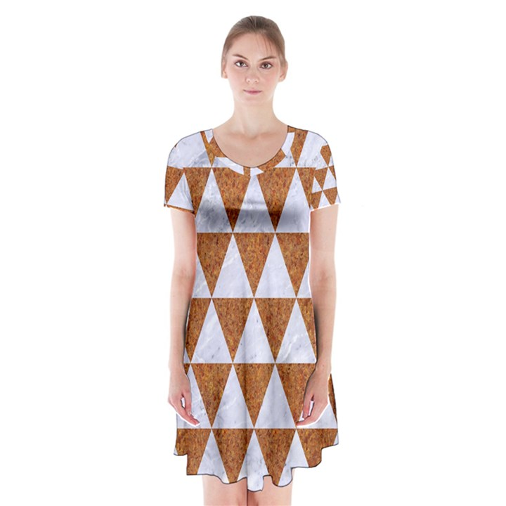 TRIANGLE3 WHITE MARBLE & RUSTED METAL Short Sleeve V-neck Flare Dress