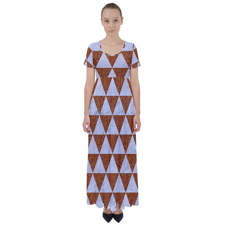 TRIANGLE3 WHITE MARBLE & RUSTED METAL High Waist Short Sleeve Maxi Dress