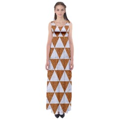 Triangle3 White Marble & Rusted Metal Empire Waist Maxi Dress