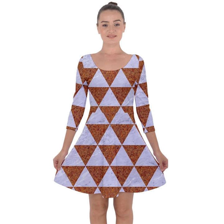 TRIANGLE3 WHITE MARBLE & RUSTED METAL Quarter Sleeve Skater Dress