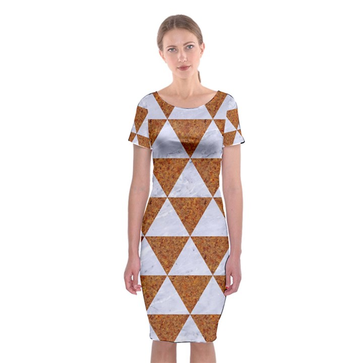 TRIANGLE3 WHITE MARBLE & RUSTED METAL Classic Short Sleeve Midi Dress