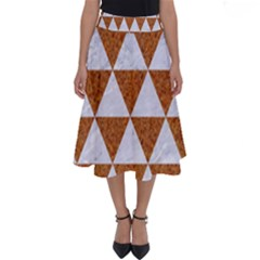 Triangle3 White Marble & Rusted Metal Perfect Length Midi Skirt