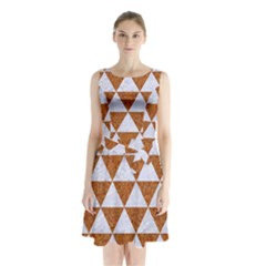 Triangle3 White Marble & Rusted Metal Sleeveless Waist Tie Chiffon Dress