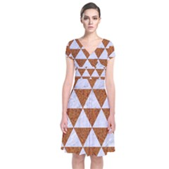 Triangle3 White Marble & Rusted Metal Short Sleeve Front Wrap Dress