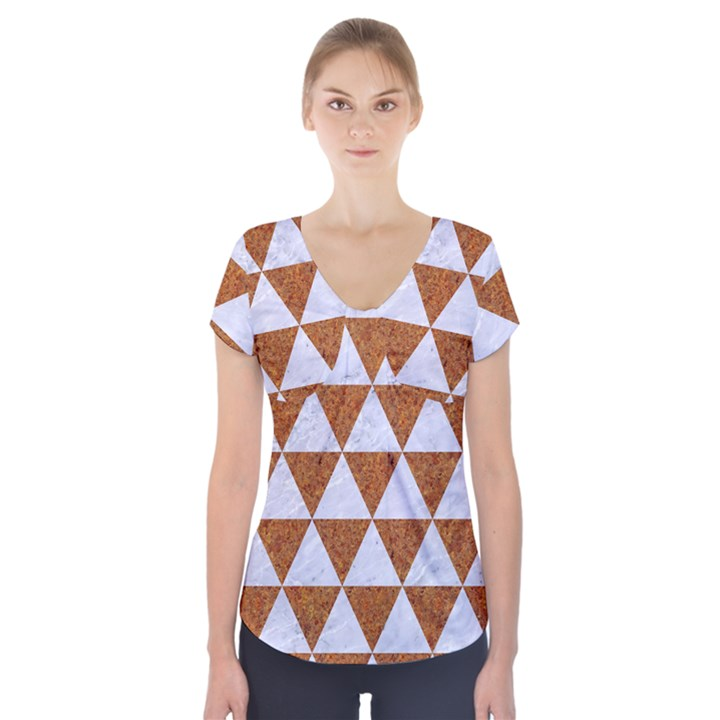 TRIANGLE3 WHITE MARBLE & RUSTED METAL Short Sleeve Front Detail Top