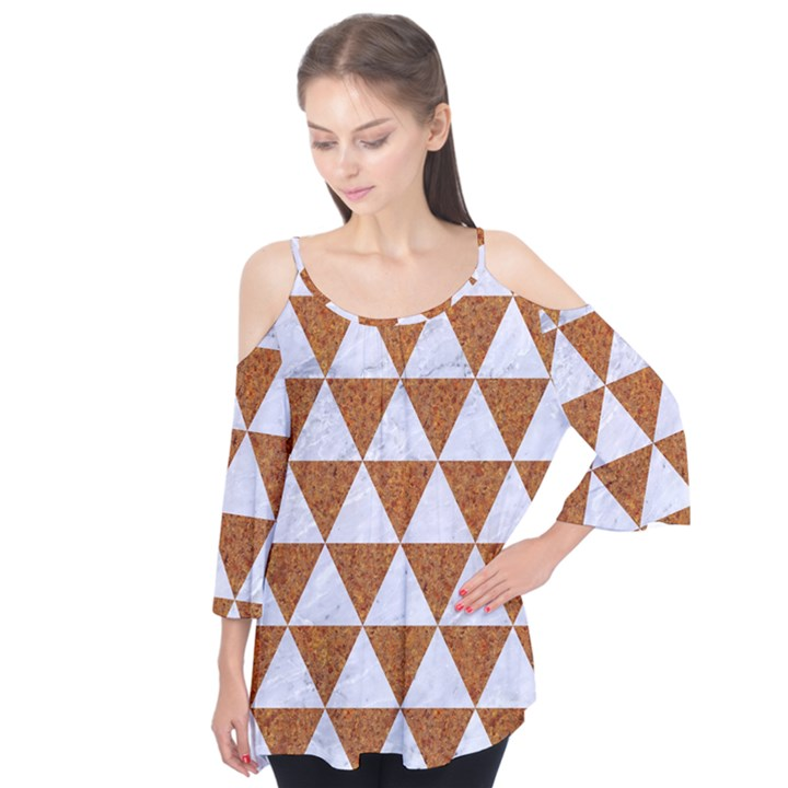TRIANGLE3 WHITE MARBLE & RUSTED METAL Flutter Tees