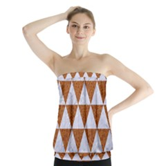 Triangle3 White Marble & Rusted Metal Strapless Top