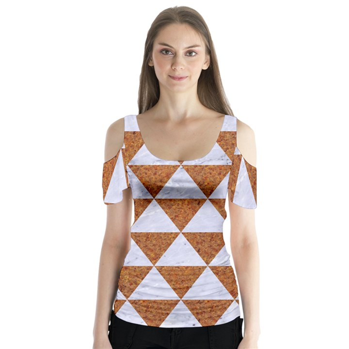 TRIANGLE3 WHITE MARBLE & RUSTED METAL Butterfly Sleeve Cutout Tee