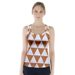 Triangle3 White Marble & Rusted Metal Racer Back Sports Top
