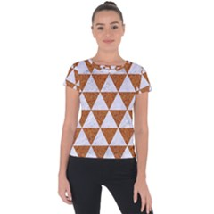 Triangle3 White Marble & Rusted Metal Short Sleeve Sports Top