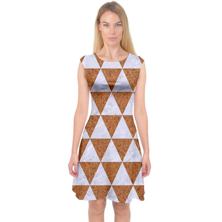 TRIANGLE3 WHITE MARBLE & RUSTED METAL Capsleeve Midi Dress