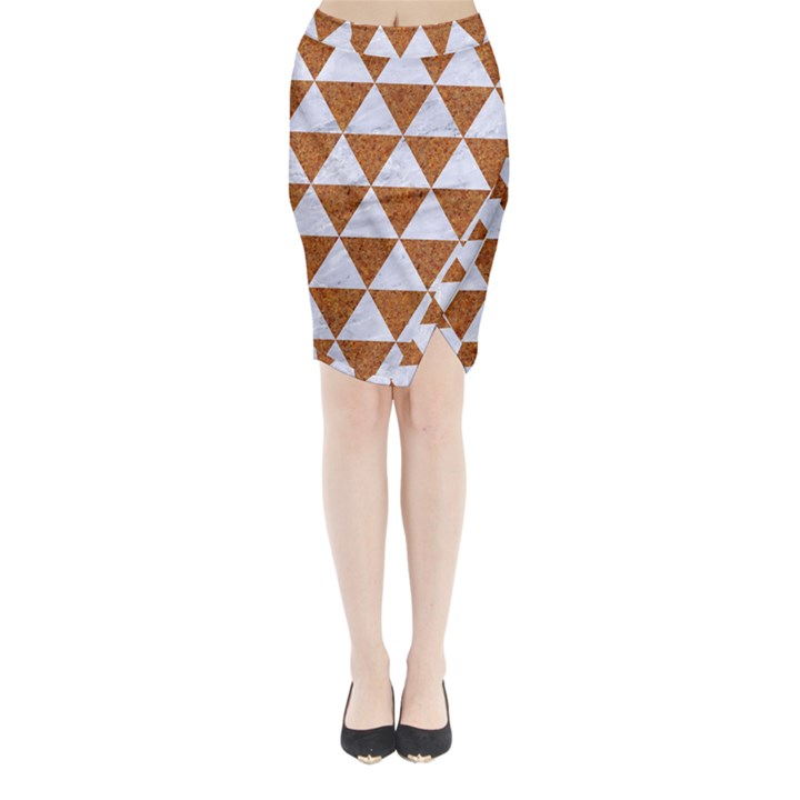 TRIANGLE3 WHITE MARBLE & RUSTED METAL Midi Wrap Pencil Skirt
