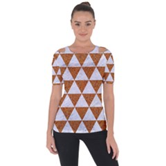Triangle3 White Marble & Rusted Metal Short Sleeve Top