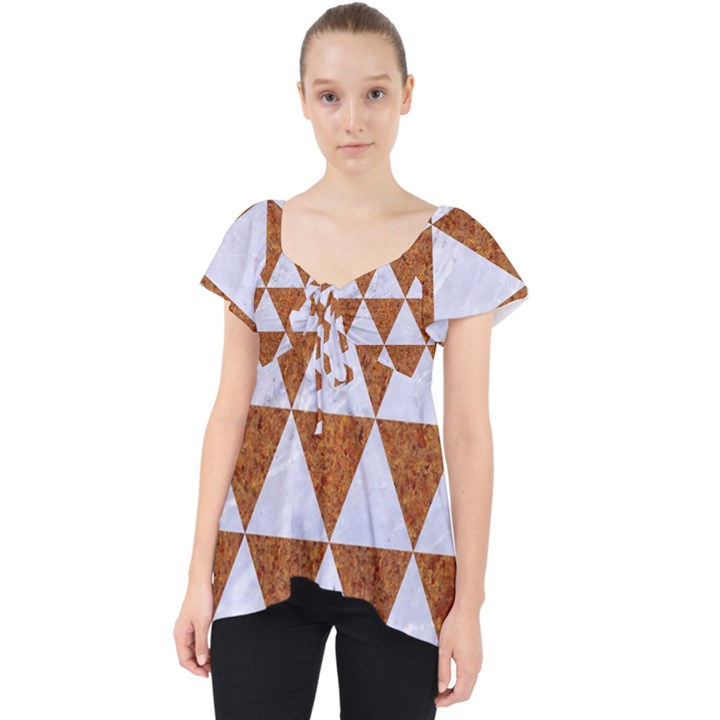 TRIANGLE3 WHITE MARBLE & RUSTED METAL Lace Front Dolly Top