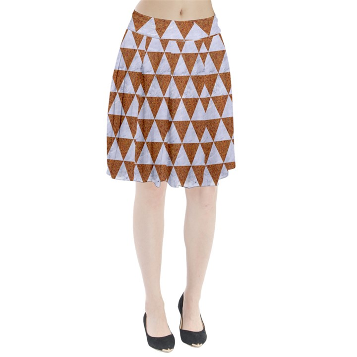 TRIANGLE3 WHITE MARBLE & RUSTED METAL Pleated Skirt